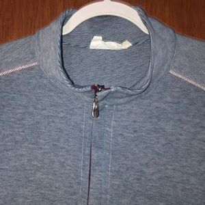 Tommy Bahama Men's Blue & White Zip Up Sweater